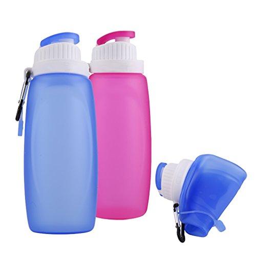 YF-3612ml Bottiglia di acqua pieghevole in silicone (Set di 2), con molla a carabina, adatta per campeggio e mensa, donna Uomo Bambino, Blue & Pink - Bottle Holder Cintura