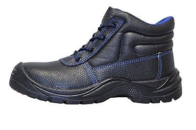 KERMEN - Leder Sicherheitsschuhe S3 SRC Hoch Leicht Stahlkappe & Trittschutz Arbeitsschuhe Rutschhemmend Sicherheits-Schnür-stiefel auch als Halbschuhe