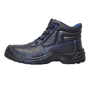 KERMEN - Sicherheitsschuhe S3 SRC Hoch Leicht Arbeits-schuhe Rutschhemmend Sicherheits-Schnür-stiefel auch als Halbschuhe - Schwarz 42