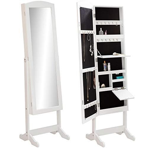 FineBuy Schmuckschrank & Ankleidespiegel stehend 156 x 42 x 38 cm Weiß | Magnetverschluss mit Tür Spiegelschrank | Standspiegel Schmuck Aufbewahrung