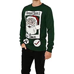 Jerséis de punto con diseño gracioso de Navidad, de la marca Threadbare, para adultos Tinsel Dates - Green Tamaño-XL-Pecho 114,30 cm-119,38 cm