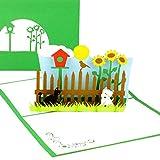 3D Pop Up Karte 'My little Garden' - Geburtstagskarte & Grußkarte mit Hund, Katze und Vogelhaus -...