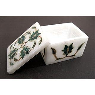 Gifts And Artefacts 6,3x 3,8x 5,1cm Rechteck weiß Marmor Schmuckkästchen & Jewelry Box Malachit Stein Einlegearbeiten