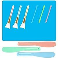 AIFUDA Tapetes de silicona con 3 varillas de agitación de silicona, 3 pinceles mágicos y 3 cucharas mezcladoras para manualidades, Fundición, Resina epoxica Mezcla y difusión a Bling Tumbler Tazas