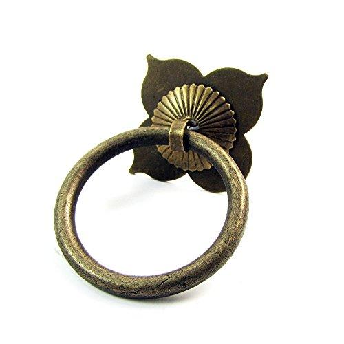 El chino antiguo retro Lotus de laton macizo Puerta Cajon aldaba Set