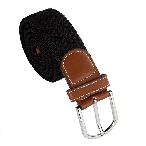 Malloom® New Men Leather Braided Elastic Stretch Metal Buckle Belt Waistband (Black)