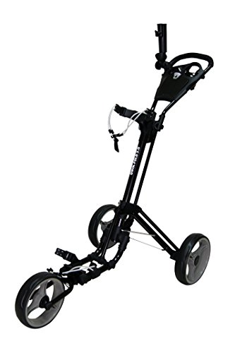 QWIK-FOLD 3 WHEEL GOLF TROLLEY PUSH PULL GOLF CART - FOOT BRAKE - ONE SECOND TO OPEN & CLOSE! (Black/Charcoal)