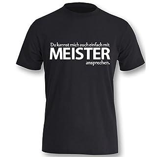 Luckja Du kannst mich auch einfach mit Meister ansprechen Herren T-Shirt Schwarz - Weiß Größe L