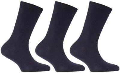 Calcetines de algodón lisos de uniforme escolar para niños (pack de 3)