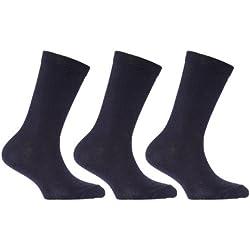 Calcetines de algodón lisos de uniforme escolar para niños (pack de 3) (Eur 37-39.5 (Más de 13 años)/Azul marino)