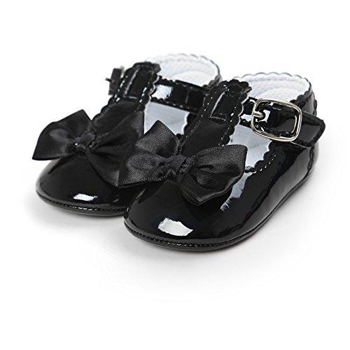 Prettyuk Bébé Filles Chaussures Princesse Miroir PU Anti-slip Soft Sole avec N½ud 0-18Mois Noir