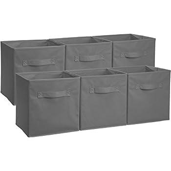 AmazonBasics Foldable Storage Cubes (6 Pack), Grey