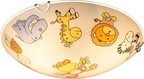 Kinderzimmerlampe Mädchen Junge Kinderlampe Decke Glas Zoo Tiere (Bunte Deckenlampe, Kinderzimmer, 30 cm, 2 x E27)