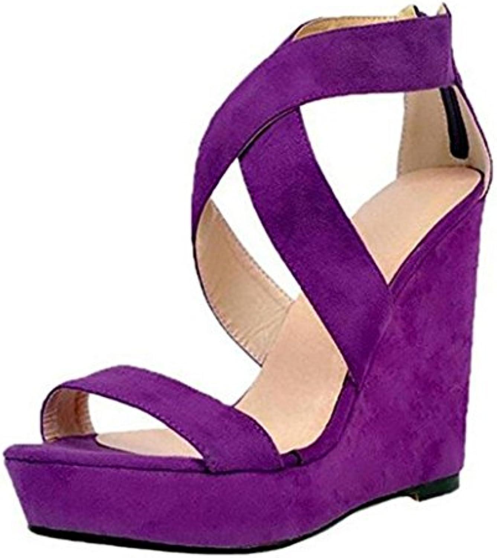 5a10df23f4e1 HIGHXE Womens Ladies Ladies Ladies Wedge Sandals Purple Cross Straps  Waterproof Platform Women S Shoes Large Size Sponge Cake... B07FZY8G97  Parent 373cd6