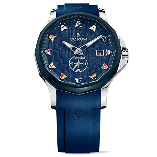 Corum Men's Admiral Legend 42mm Blue Rubber Band Steel Case Automatic Analog Watch 395.101.22/F373 AW12