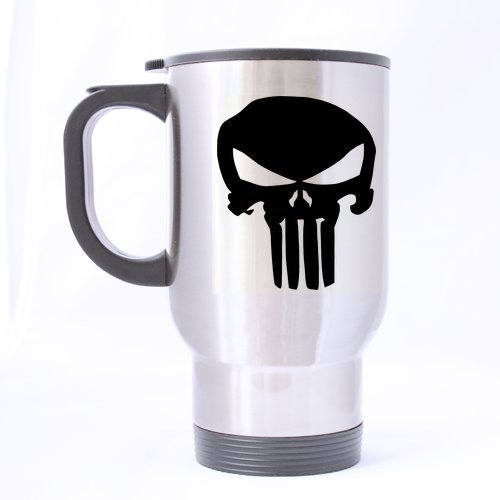 Mensuk Custom Fashion Punisher Skull 14oz Stainless Steel Travel Mug - Coffee Mugs (sliver)