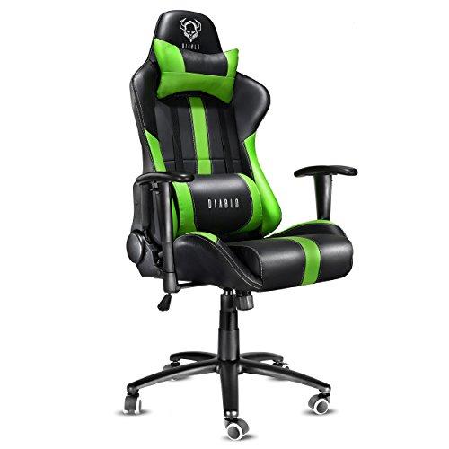 Diablo X-Player sedia gaming sedia da ufficio sedia da scrivania braccioli regolabili funzione di inclinazione poggiatesta regolabile in altezza caricabile fino a 150 kg selezione di colore (nero-verde)