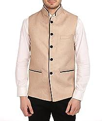 Wintage Mens Rayon Bandhgala Festive Nehru Jacket Waistcoat beige, X-Small