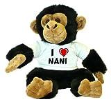 Plush Monkey / Chimpanzee toy with I Love Nani T-Shirt (first name/surname/nickname)
