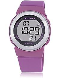 Reloj electrónico digital de múltiples funciones de los ni?os,Jalea 100 m led resina resistente al agua correa alarma cronómetro chicas o chicos lindos moda reloj de pulsera-D