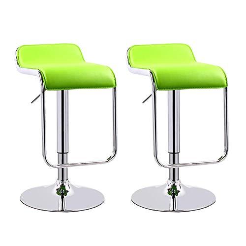 Dall Barhocker Set Von 2 360 ° Schwenken Hochstuhl Verstellbare Höhe Fußstütze Aus Chrom Frühstücksbar Counter Hocker (Farbe : Green 1) - Chrom-holz-finish Bar Hocker