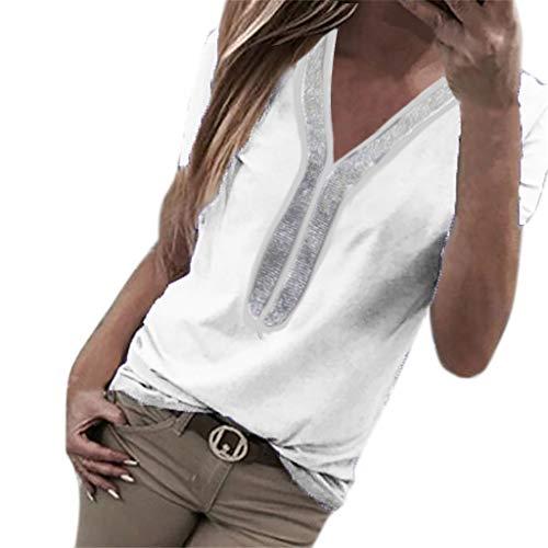 Kviklo Damen Plus Size T-Shirt Pailletten Kurzarm V-Ausschnitt Tops Kostüm Bluse Oversize(3XL(44),Weiß) (Kostüme Kleinkind-monster High)