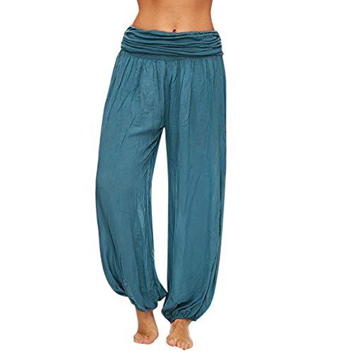 Watopi Damen lose Pilates-Hosen beiläufige Hosen Harem Hosen Baggy Hippie Boho Hose Leicht Stoffhose Strandhosen