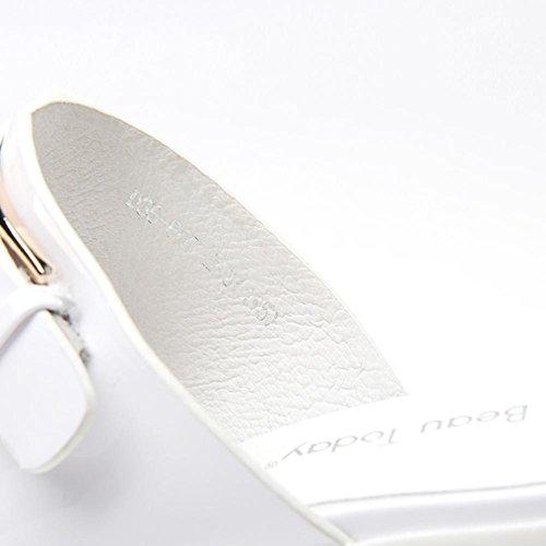 Heart&M Cuoio genuino di colore solido Decor strass Chunky Heels estate delle donne suola di gomma pantofole Mules White
