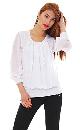 Kd. 304 Mississhop Damen Chiffon Bluse 3/4 Ärmel Rundhals Top Shirt Casual Langarmshit Tunika Carmenbluse Weiß XS/S (Seide Aus 3/4-Ärmel-bluse)