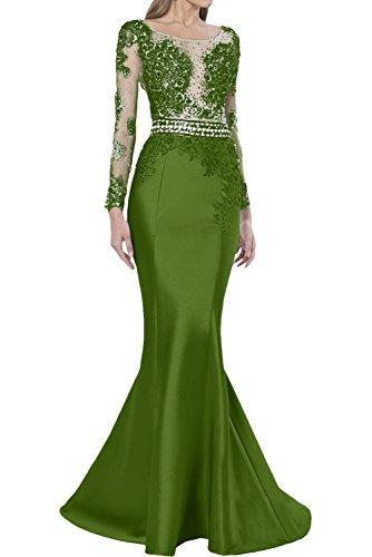 Promgirl House Damen Luxus Etui Mermaid Spitze Abendkleider Ballkleider Hochzeitskleider Lang mit Aermel Olive