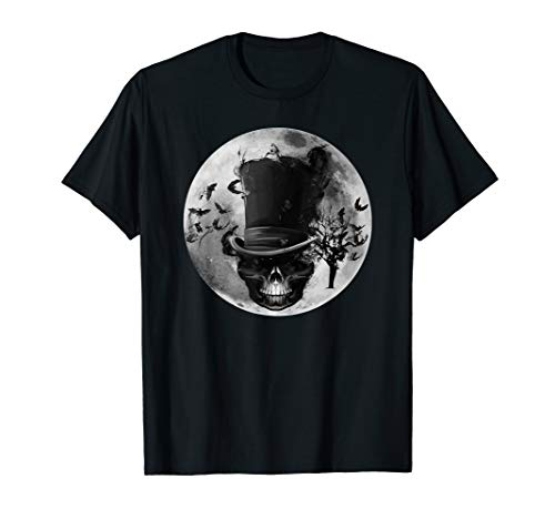 Gothic Dapper Schädel Spooky Scary Smoky Moon Halloween Goth T-Shirt