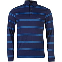 Pierre Cardin–Polo para hombre, Cuello Regular, cierre con botones, manga larga Blau1 M