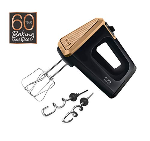 Krups Jubiläum-Edition GN5058 3 Mix 5500 Handmixer (500 Watt, 5-Stufen Geschwindigkeitsregler, Turbofunktion, inklusive Zubehör mit Tasche) schwarz/kupfer