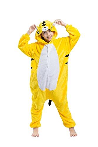 CuteOn Unisex Childrens Tier Pyjamas Onesies - Mädchen Junge Homewear Sleepsuit Cosplay Kostüm Gelb Tiger 130(Vorschlagen Höhe - Strampelanzug Tiger Halloween-kostüm