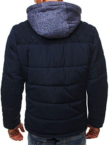 OZONEE Herren Steppjacke Winterjacke Sweatjacke J. STYLE 3056 Dunkelblau_JS-3092