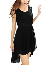 sourcingmap® Woman Dipped Hem Sleeveless Chiffon Above Knee Dress