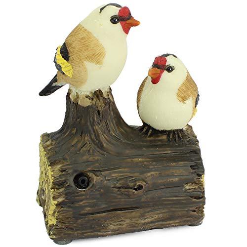 Mabax Haus & Garten Vogel Bewegungsmelder | Vögel Paar Duo | Bewegungssensor & Vogelgezwitscher Alarm (Rot/Weiß/Braun/Schwarz/Gelb)