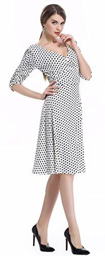 U-shot - Robe - Manches Courtes - Femme 36-38,38-40,40-42,42-44,44-46 Dot White