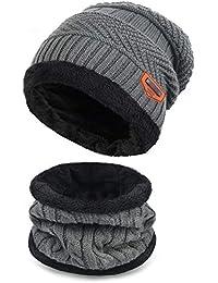 e0279922e2e Petrunup Ensemble Bonnet et Écharpe en Tricot d hiver pour Enfant 2 Pièces  Bonnet de