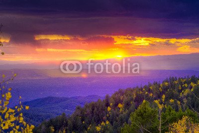 "Alu-Dibond-Bild 140 x 90 cm: ""Sunset at Santa Fe Ski Basin"", Bild auf Alu-Dibond"
