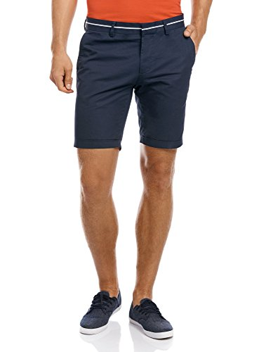 Oodji ultra uomo pantaloncini in cotone con decorazioni a contrasto in vita, blu, it 52 / eu 48 / xl