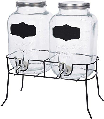 Getränke Spender Set - 2X 4l Glas mit Zapfhahn und Gestell - Saftspender Dispenser Wasserspender -
