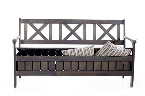 Ambientehome Angebot Truhenbank 157 cm grau 3er Gartenbank Massive Holzbank