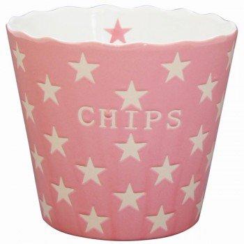 Krasilnikoff - Snackschale, Knabberschale - Chips - mit Sternen - Farbe: Pink Star - Keramik