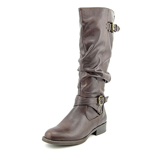 White Mountain Latara Rund Kunstleder Mode-Knie hoch Stiefel Brown