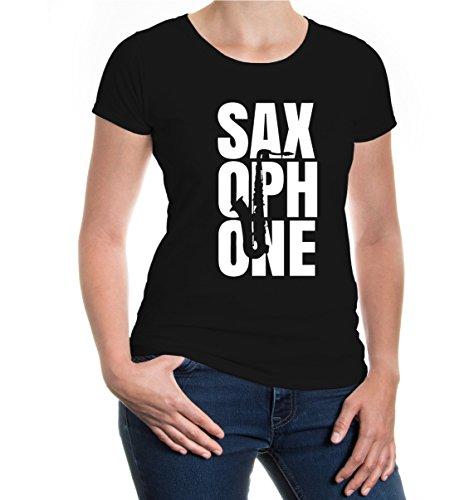 Girlie T-Shirt Saxophone Type-XS-Black-White