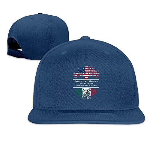American Grown Mexican Roots Baseball Caps Unisex Flat Billed Adjustable Fashion Street Rapper Hat -