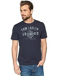 Tom Tailor Logo - T-shirt - Asymétrique - Imprimé - Manches courtes - Homme