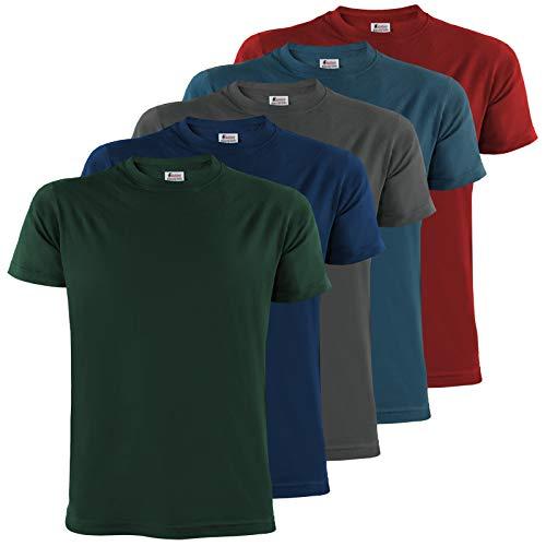 ALPIDEX Herren T-Shirts mit Rundhalsausschnitt einfarbig im 5er Set Größe S M L XL XXL 3XL 4XL - Earth, Größe 3XL - Für Immer Grünes T-shirt