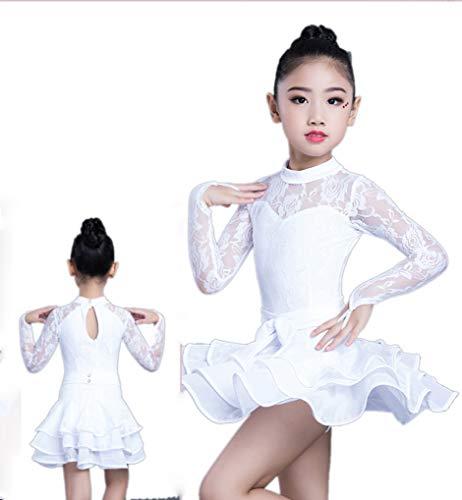 SMACO Lateinische Tanzkostüme Der Weiblichen Kinder Wettbewerbskostüme Bequeme Breathable Spitzentanzkostüme Blau Weiß Rot Grün (Rote Und Schwarze Tanzkostüme)